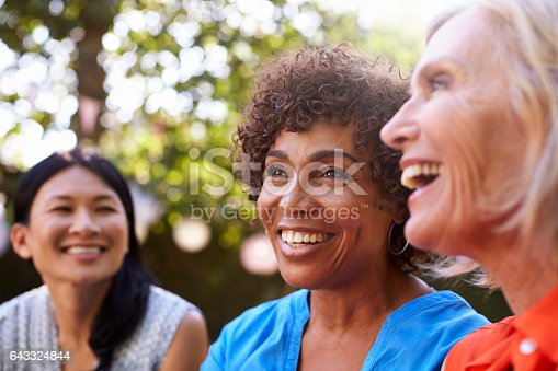 643325030 istock photo Mature Female Friends Socializing In Backyard Together 643324844