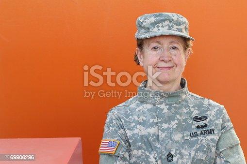 Mature female U.S. army veteran.