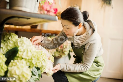 istock Mature female worker working in flower shop. 644135728