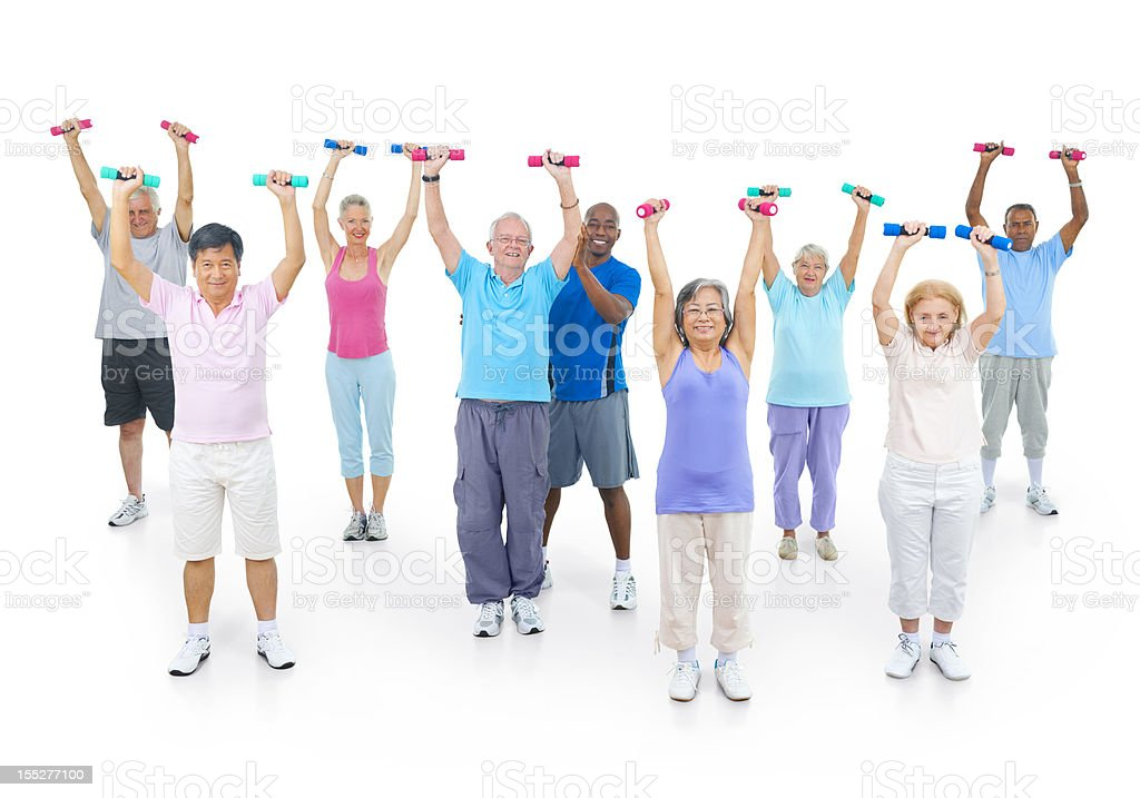Mature fitness class lifting weights royalty-free stock photo