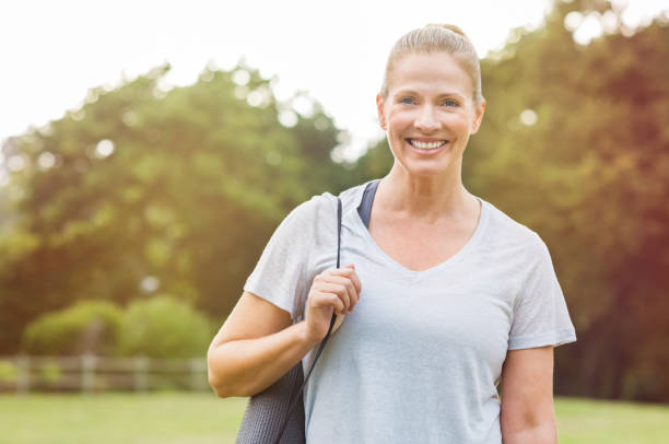 Mature fitness woman stock photo