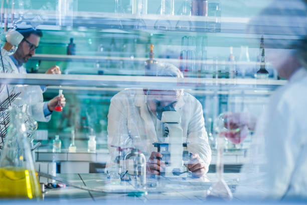 Mature forensic scientist using microscope while working with his colleagues in laboratory. Senior scientist looking through microscope in laboratory with his colleagues. The view is through glass. biochemistry stock pictures, royalty-free photos & images
