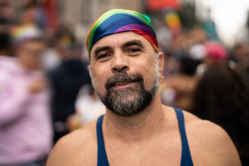 Mature Gay Man On Gay Parade Stock Photo - Download Image
