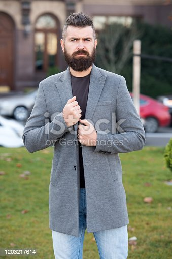 698023272 istock photo Mature hipster with beard. Fashion man with beard. brutal caucasian hipster with moustache. Bearded man. Male barber care. stylish bearded hipster outdoor. In her own style. businessman 1203217614