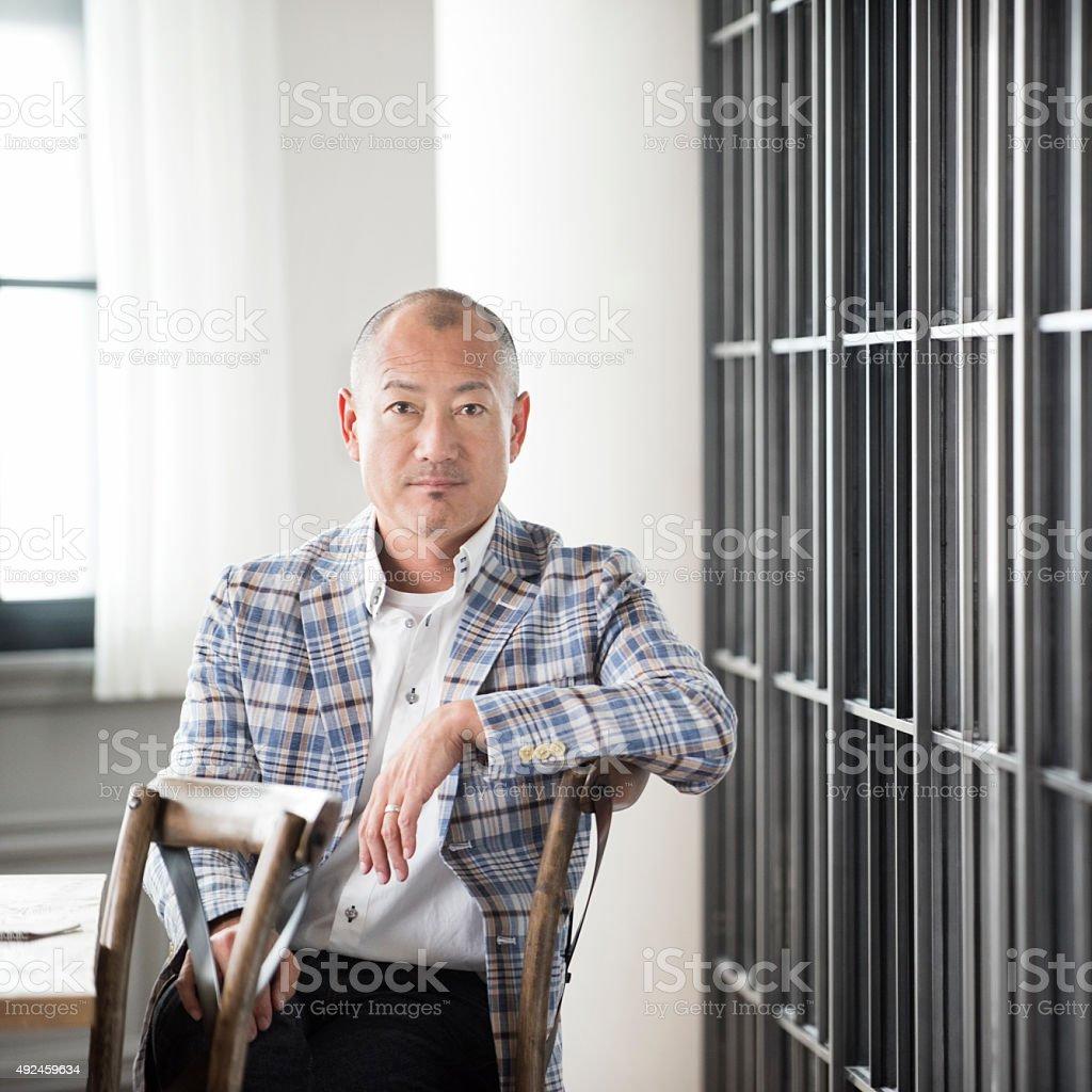 Mature Japanese businessman portrait stock photo