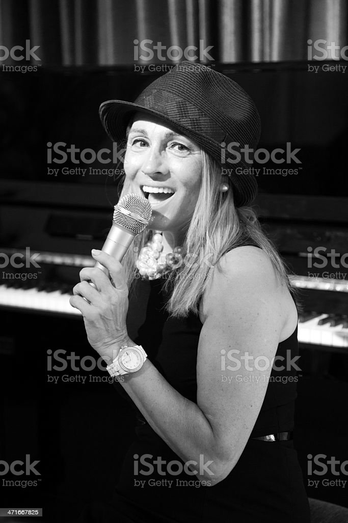 Mature jazz singer stock photo