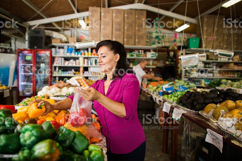 Quick mature latina at supermarket
