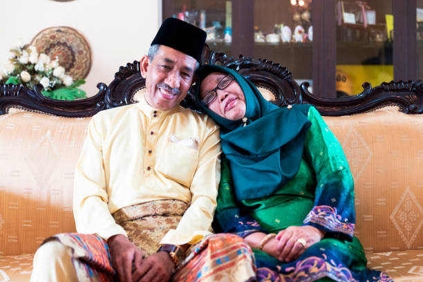 Mature Malaysian couple together after years of marriage stock photo