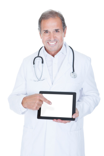 928855610 istock photo Mature Male Doctor Holding Digital Tablet 459372983