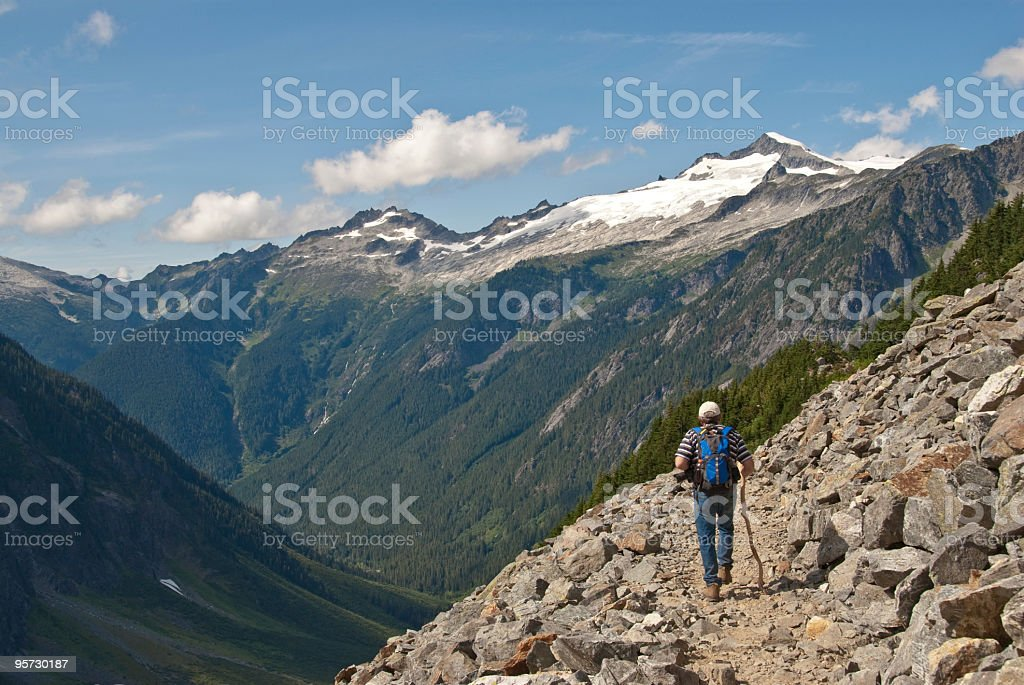Mature Male Hiking in the North Cascades royalty-free stock photo