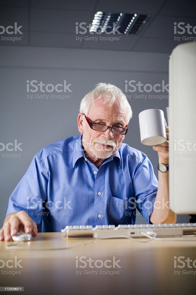 Mature man at the computer royalty-free stock photo