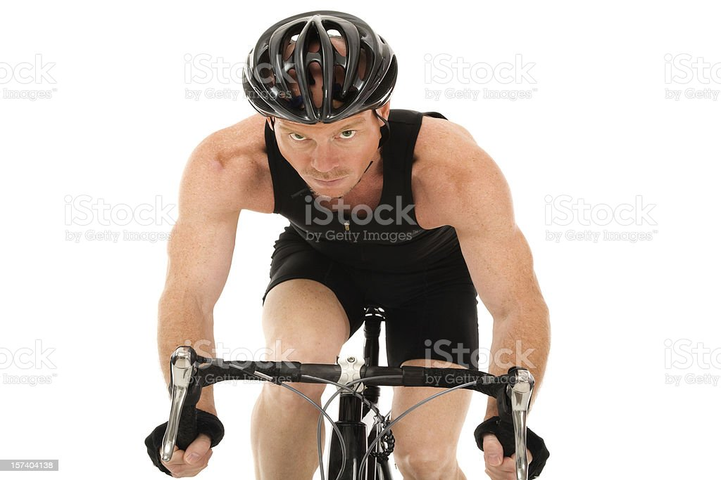 Mature Man cycling isolated on white fitness healthy bicycle helmet stock photo