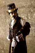 istock Mature man dressed in vintage steampunk theme 478022638