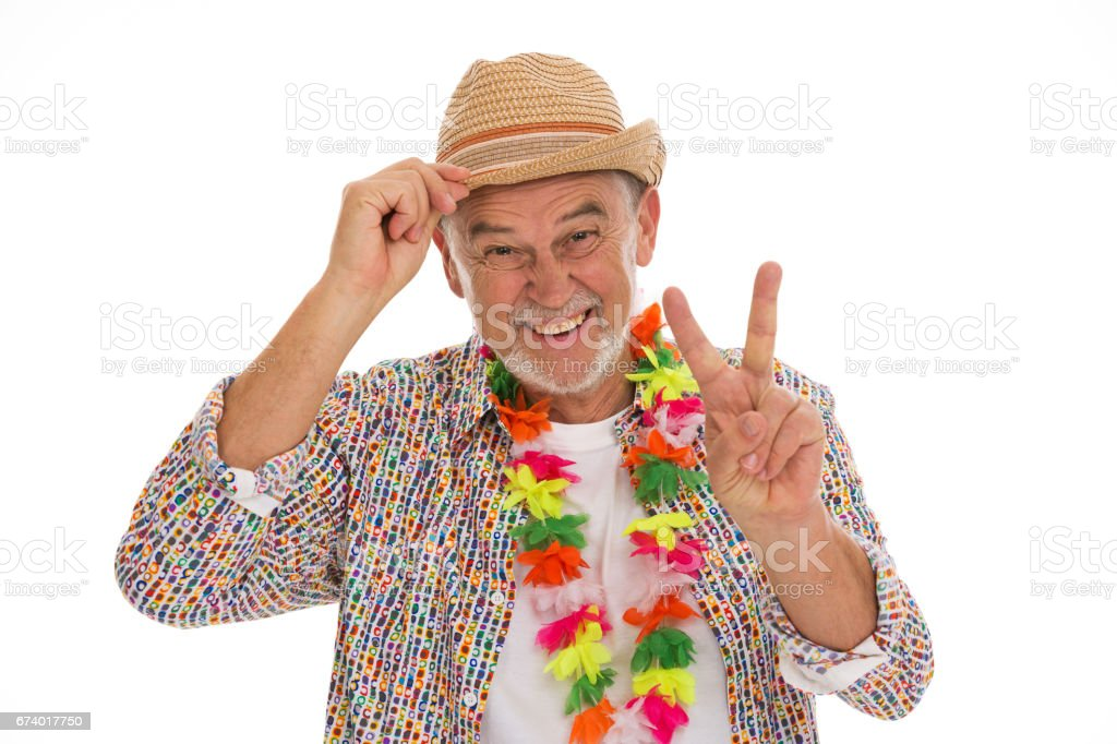 Mature man dressed like a hippie stock photo
