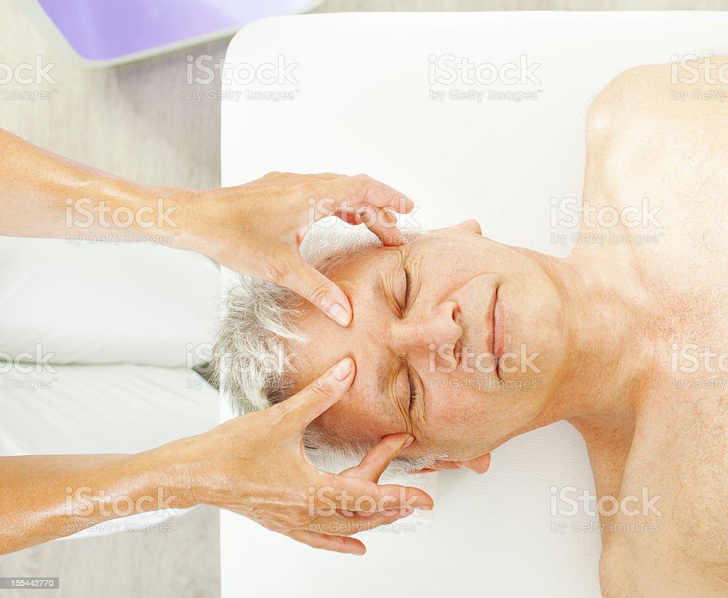 Mature Man Enjoy Head Massage. royalty-free stock photo
