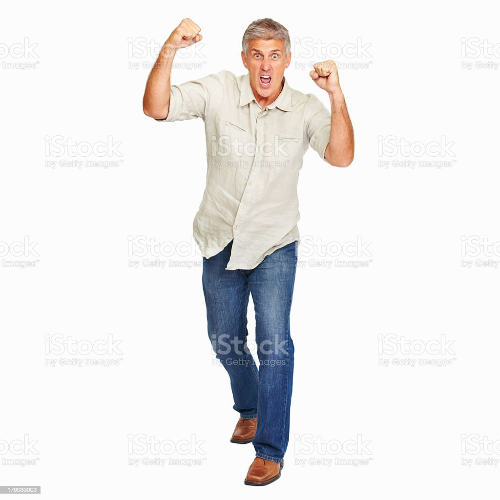 Mature man enjoying his success stock photo