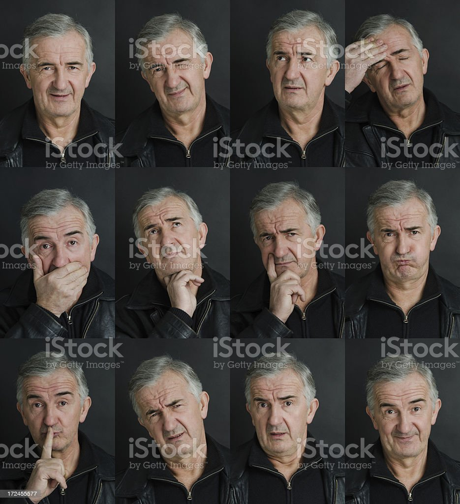 Mature Man Facial Expression Set royalty-free stock photo