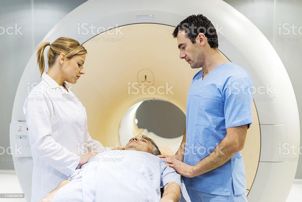 Mature man getting a MRI Scan. royalty-free stock photo