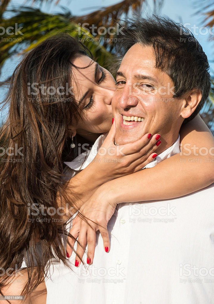 Mature man having fun stock photo
