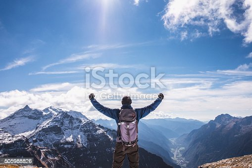 istock Mature Man hiker rejoices on the mountain top 505988826