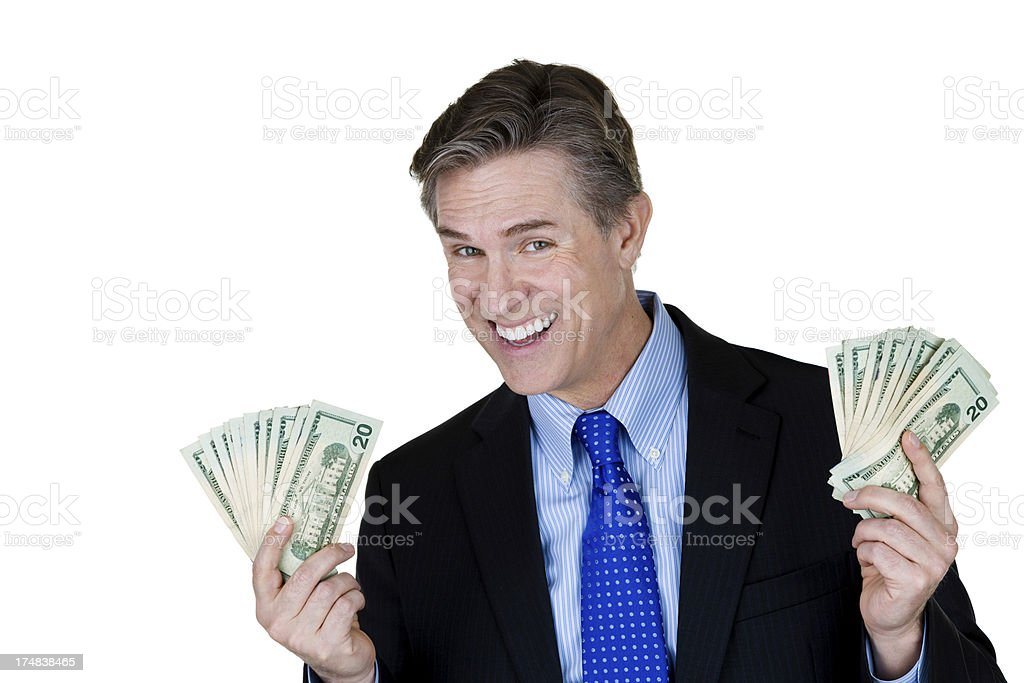 Mature man holding money royalty-free stock photo