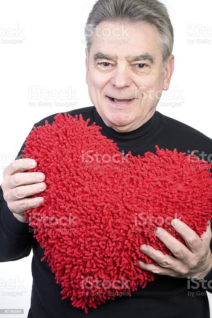 Mature Man Holding Red Heart royalty-free stock photo