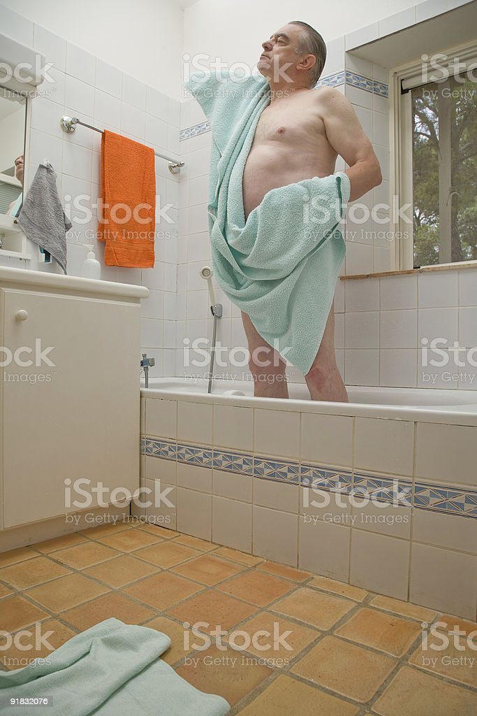Mature Man in Bath stock photo