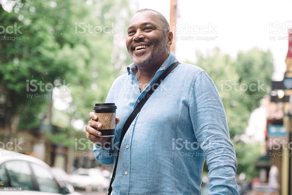 Mature Man in City Downtown stock photo