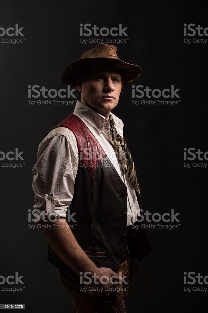 Mature man in costume of traveler stock photo