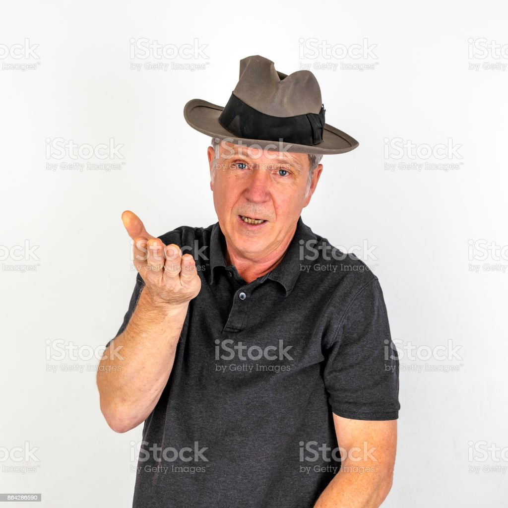 mature man in emotion with hat royalty-free stock photo