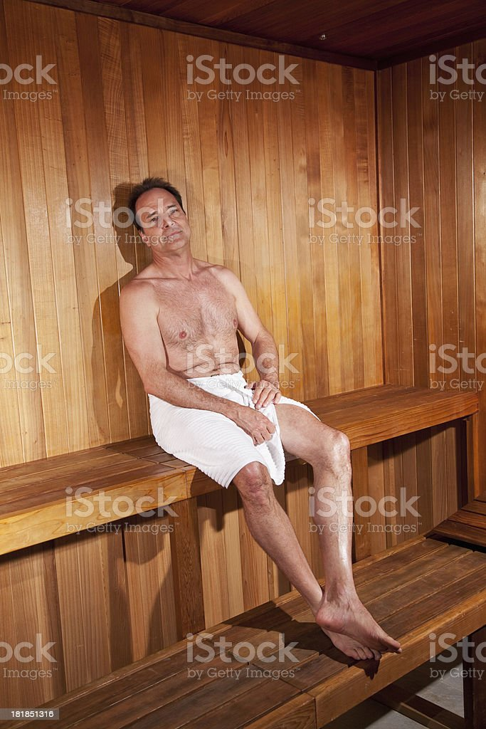 Mature man in sauna royalty-free stock photo