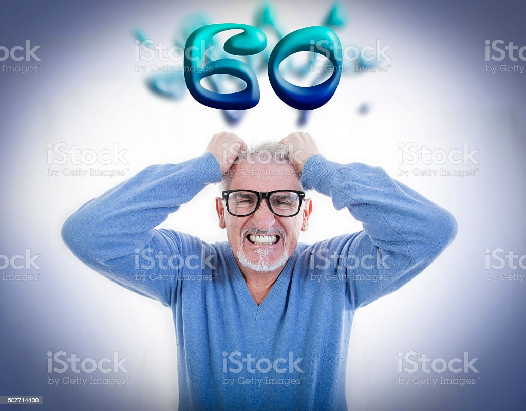 mature man is desperate at the sixtieth birthday stock photo