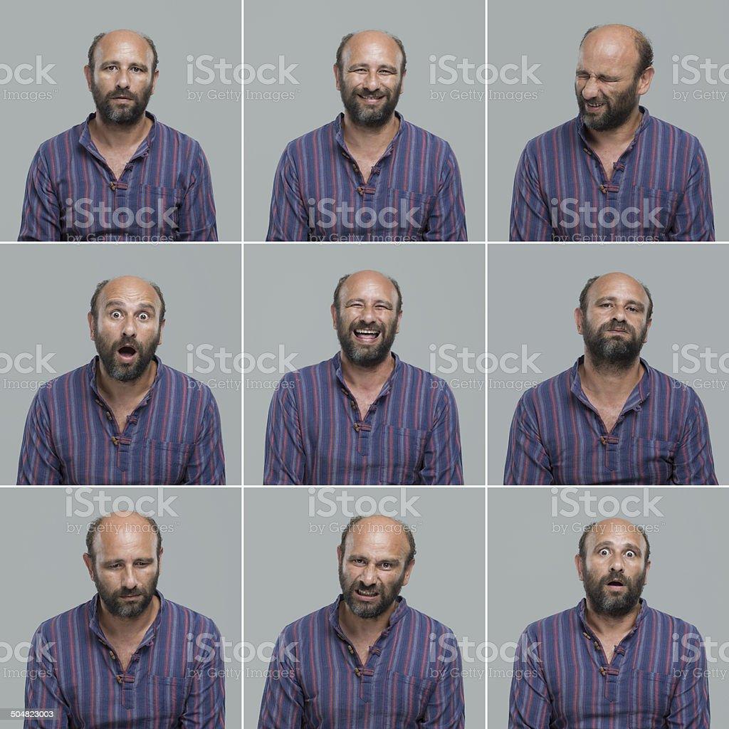 Mature man making facial expressions royalty-free stock photo