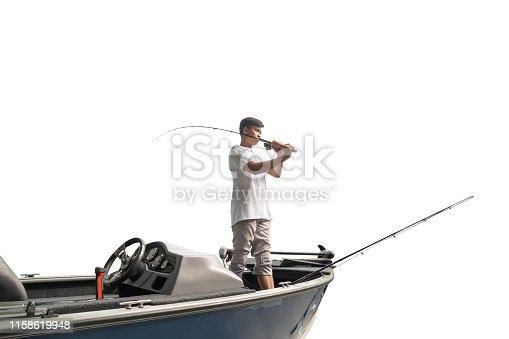 156872766istockphoto Mature man on a motor boat. Fishing 1158619948