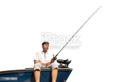 156872766istockphoto Mature man on a motor boat. Fishing 1158619953