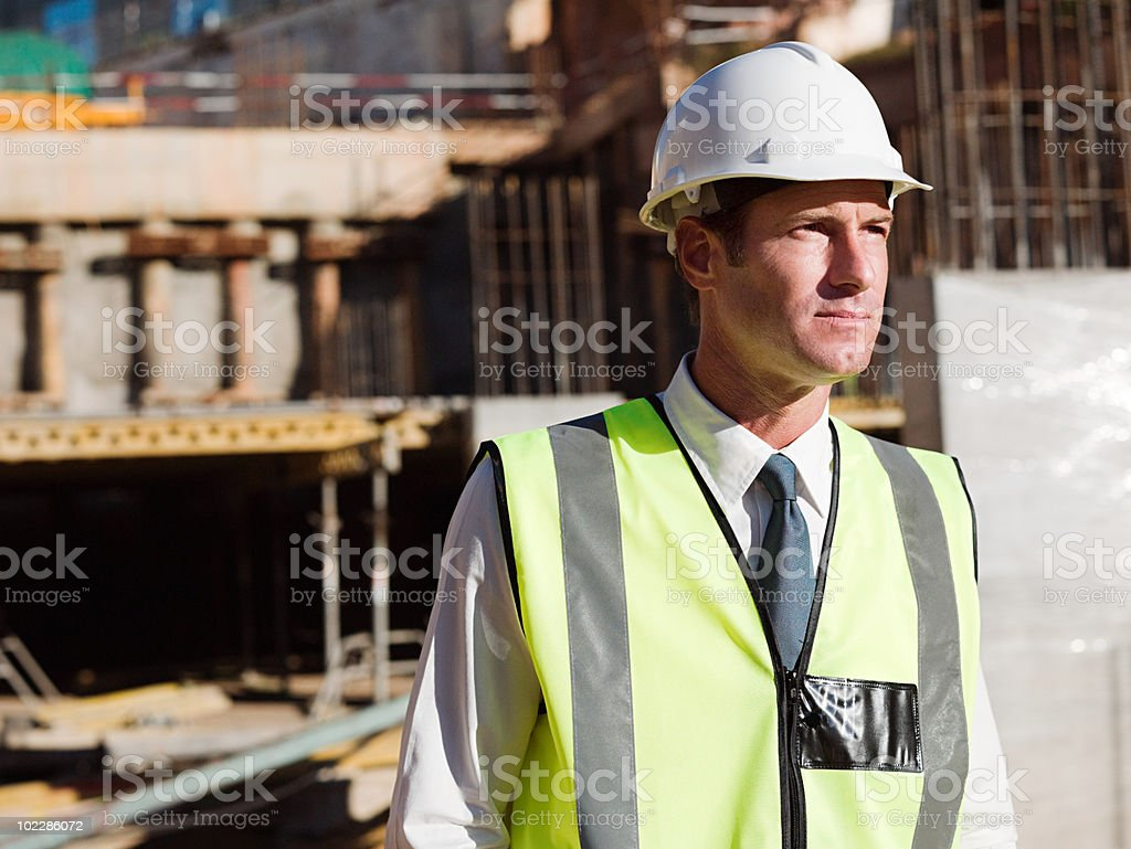 Mature man on construction site royalty-free stock photo