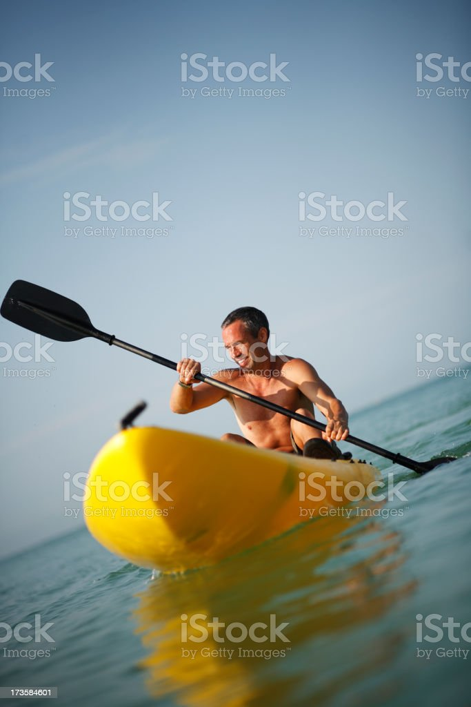 Mature Man on Kayak royalty-free stock photo