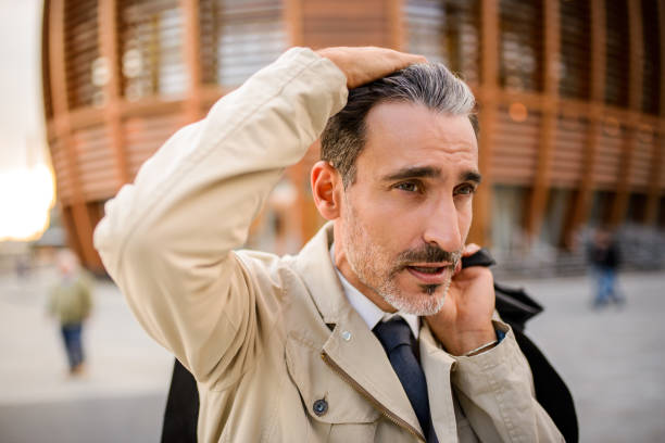 Mature man on the move. stock photo