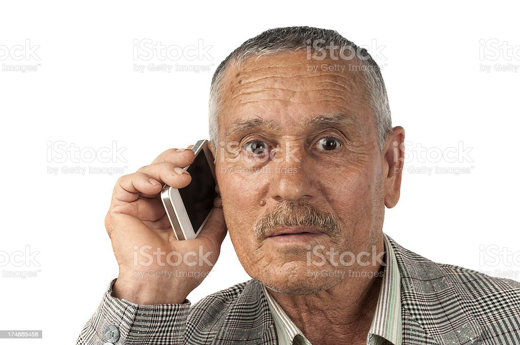 Mature man on the phone royalty-free stock photo