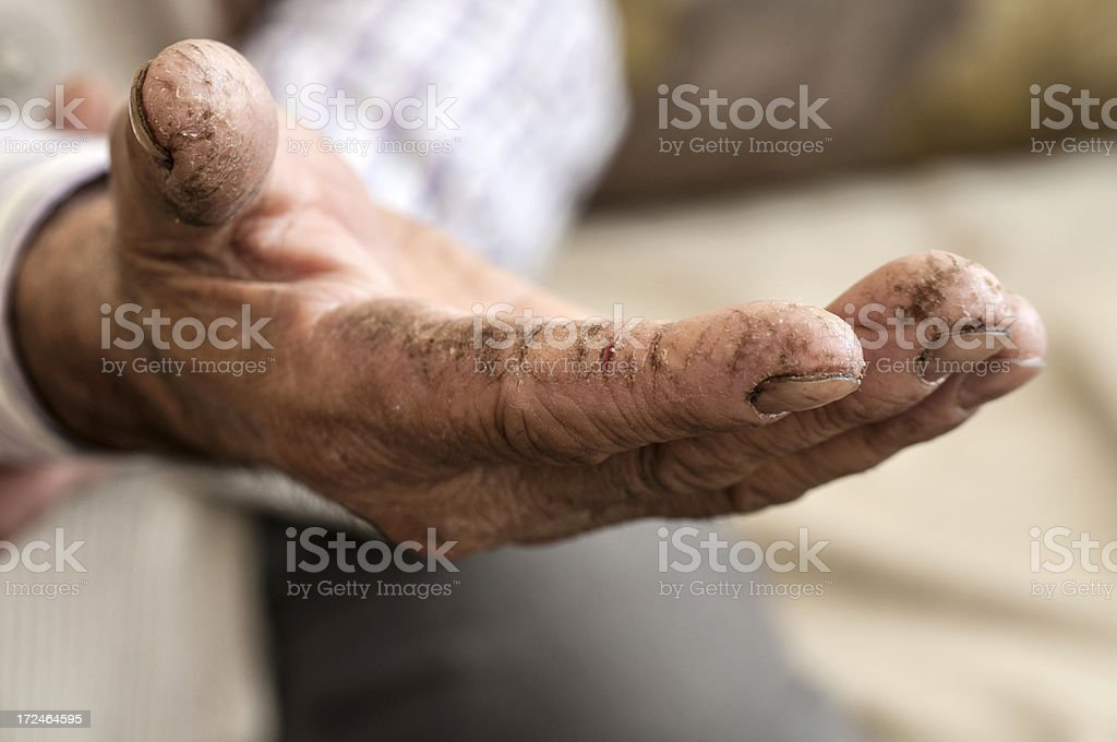 Mature man open hand royalty-free stock photo