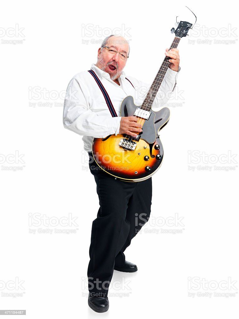 Mature man playing guitar against white background royalty-free stock photo