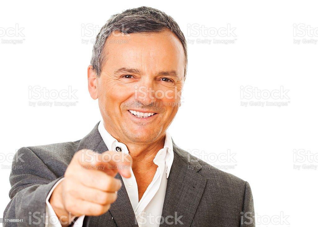 Mature man pointing royalty-free stock photo