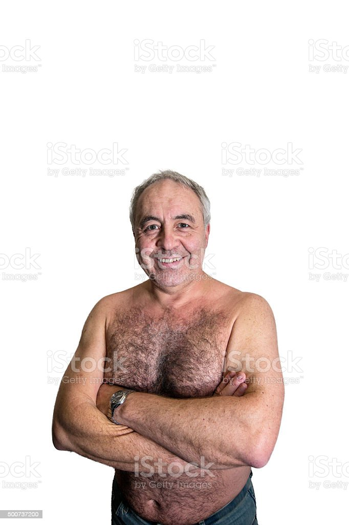 Mature man portrait close-up bare chested stock photo