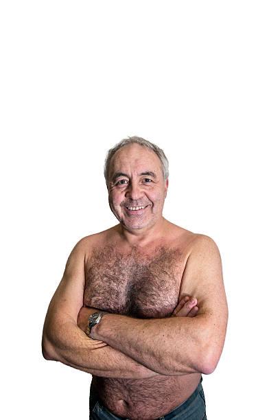 Älterer Mann Porträt Nahaufnahme nackten chested – Foto
