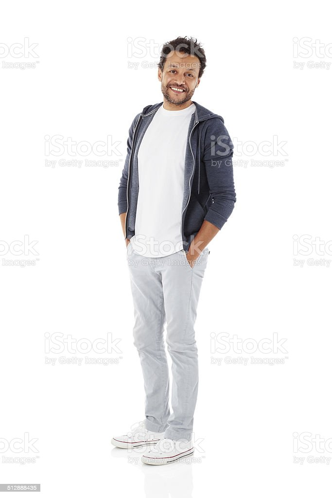 Mature man posing in casuals stock photo