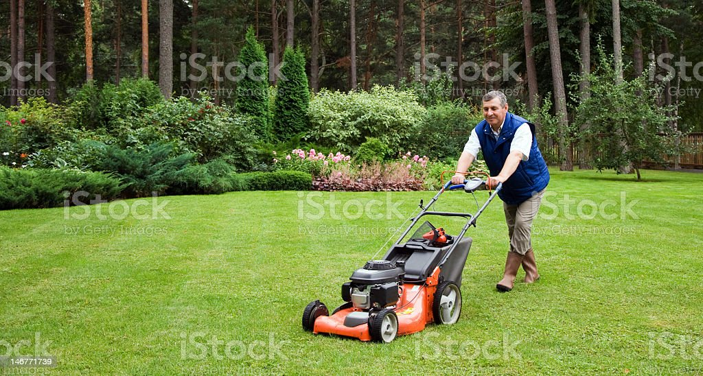 Mature man pushing a lawnmower round a lawn stock photo