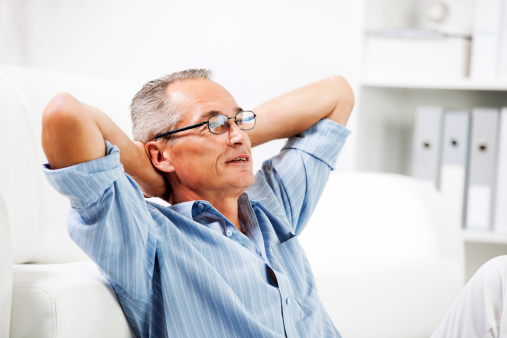 530281733 istock photo Mature man resting at home. 170171835