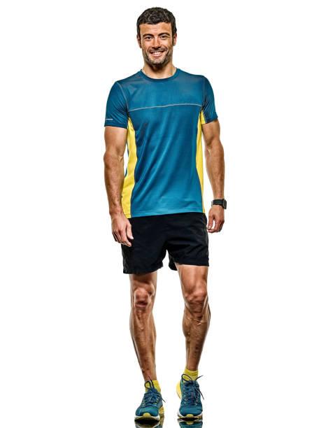 Reife Mann Laufläufer Jogger isolierten weißen Hintergrund – Foto