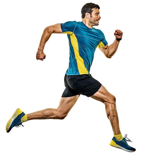 Reifen Mann Laufen Läufer Joggen Jogger isoliert weißen Hintergrund – Foto