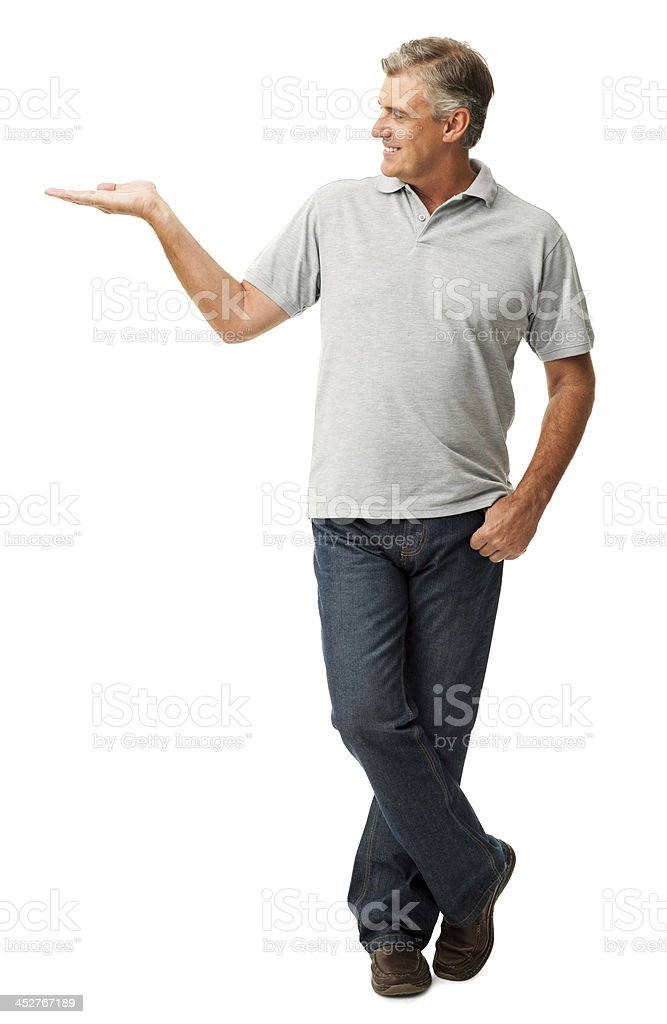 Mature Man Showing Invisible Product stock photo